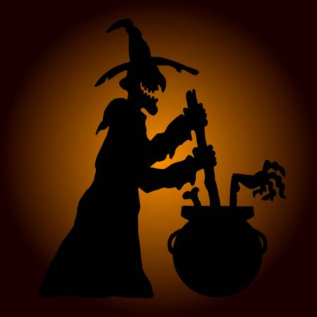 halloween scary: Very high quality original trendy  vector scary halloween witch with boiler
