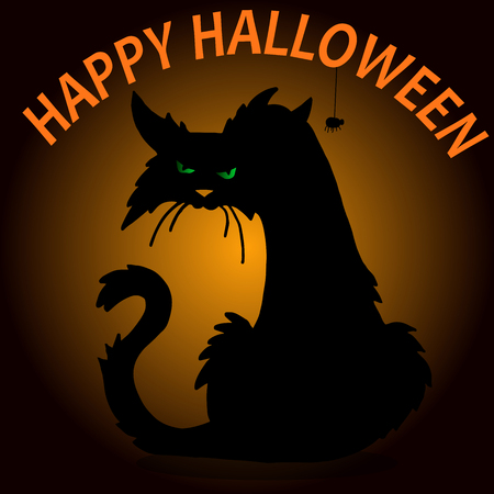 Very high quality original trendy  vector scary halloween cat outline Stock Vector - 63298191