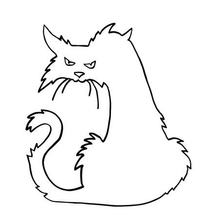 Very high quality original trendy  vector scary halloween cat outline Illustration