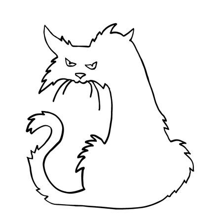 Molto alta qualità originale vettore di tendenza contorno Scary Halloween cat