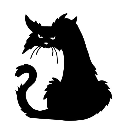 Very high quality original trendy  vector scary halloween cat Illustration