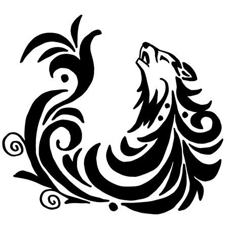 Hoge kwaliteit originele wolf tattoo illustratie geïsoleerd op een witte achtergrond