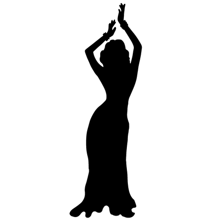 High quality original illustration of dancing girl. Belly dancing. Silhouette. Vettoriali