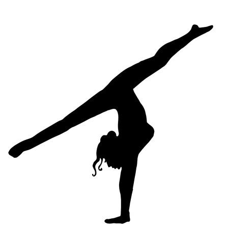 High quality original girl gymnastic doing splits. Gymnastics. Girl. Athlete Illustration