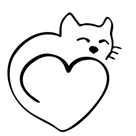 socializando: High quality original illustration of cat in shape of heart Vectores