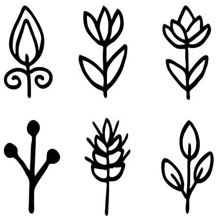 field flowers: High quality original flower doodle isolated on white background, tulpen Illustration