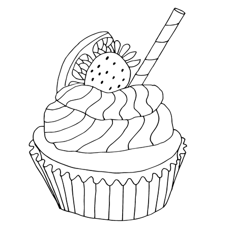 High quality original illustration of cake with strawberry and orange