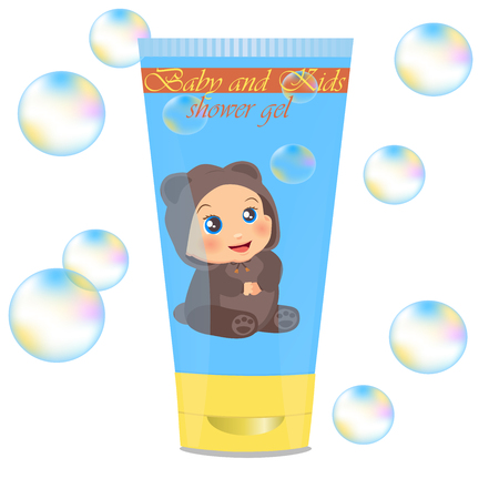 lather: High quality original trendy vector Baby lather tube with kids design