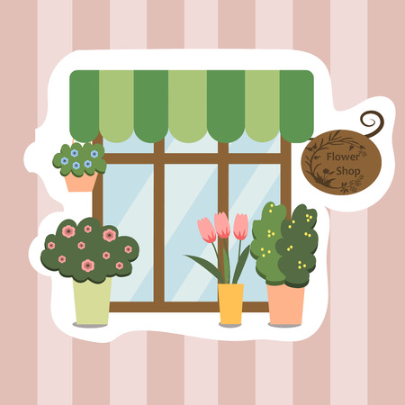 High quality original trendy vector illustration of flower shop facade, show-window Illustration