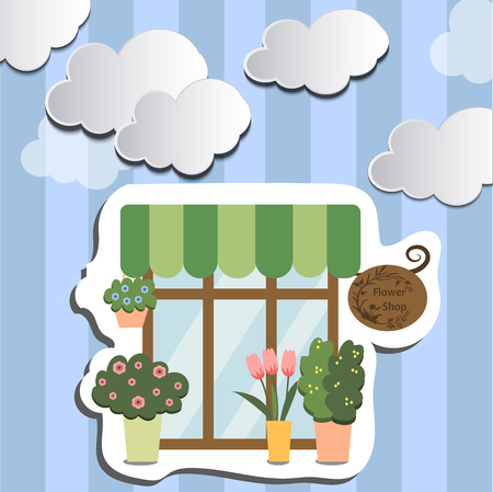 High quality original trendy vector illustration of flower shop facade, show-window with clouds