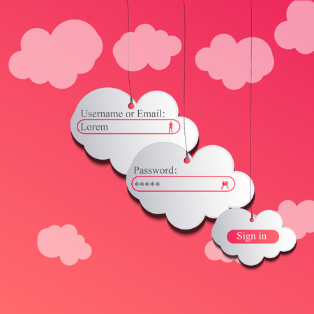 High quality original trendy vector paper clouds on a rope login page for web or mobile applications