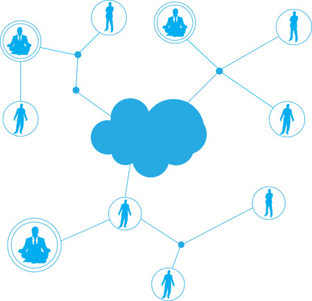 clouding: high quality original trendy vector illustration of connecting people concept or social network