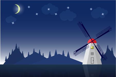 european alps: High quality original vector trendy Windmill in mountain landscape illustration