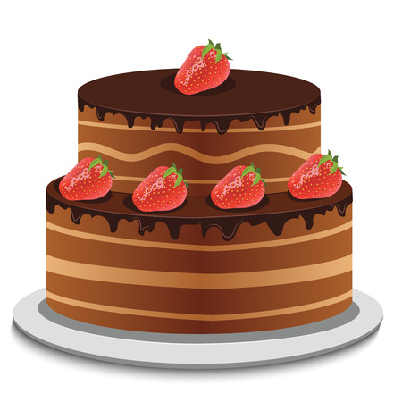 topping: High quality original trendy vector sheet cake with chocolate topping and fresh strawberry