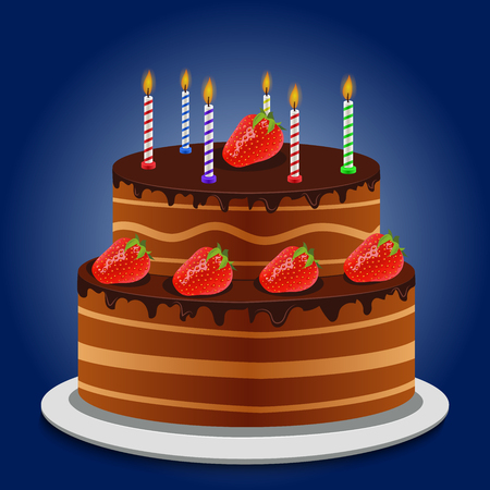 topping: High quality original trendy vector sheet cake with chocolate topping candles and fresh strawberry