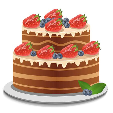 High quality original trendy vector sheet cake with chocolate topping, fresh strawberry and blueberries