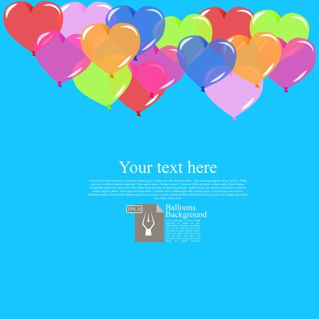 High quality original trendy bector color balloons background with place for text. Can be used for cards, gifts, invitations sales, banners, web design