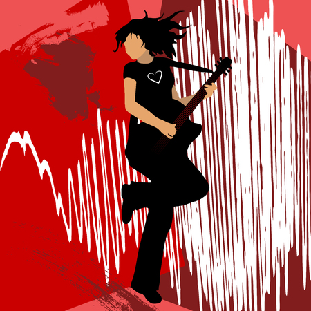 High quality original trendy vector rock star girl playing bass guitar Illustration