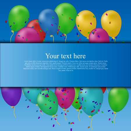 High quality original trendy vector banner with place for text on balloons and confetti background