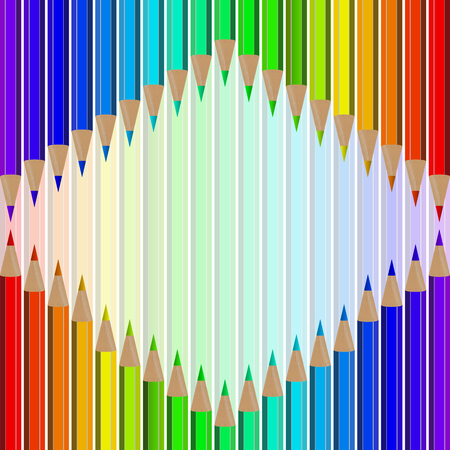 writing instruments: Very high quality original trendy realistic vector set of colored pencils in all rainbow colors can be used for design, banners, poster, flyer, cover, brochure. template,