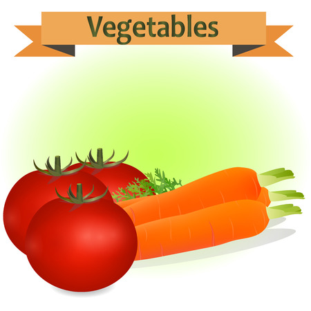 haulm: Very high quality original realistic trendy vector illustration of a carrot and tomato can be used fo juice, label, diet, fresh or natural products