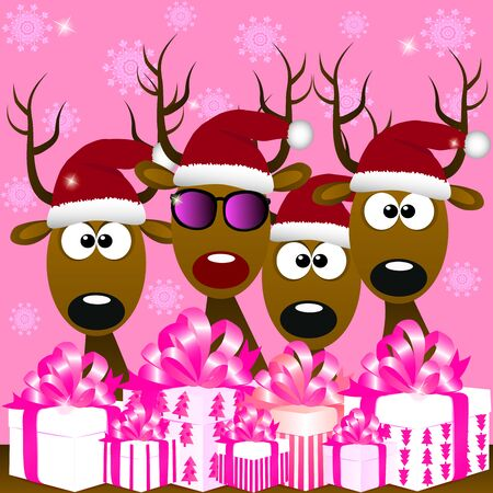 High quality original trendy vector illustration of cool deers with red santa hat and gift boxes, can be used of cards invitations, greetings, web design, merry christmas cards Illustration