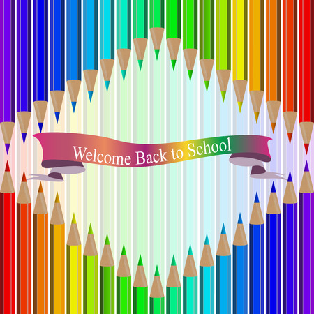 Very high quality original trendy realistic vector set of colored pencils in all rainbow colors with back to school banner can be used for design, banners, poster, flyer, cover, brochure. template,