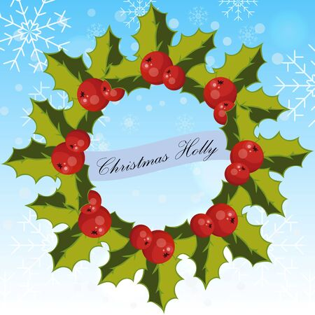 ilex: Very high quality original trendy vector illustration of twig or branch of holly with berry and leaves