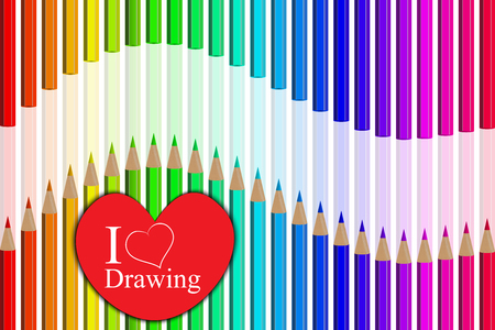 Very high quality original trendy realistic vector set of colored pencils in all rainbow colors with heart i love drawing and soft shadow can be used for design, banners, poster, flyer, cover, brochure. template, Illustration