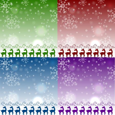 Very high quality original trendy vector set of christmas reindeers pattens with snoflakes on blured background