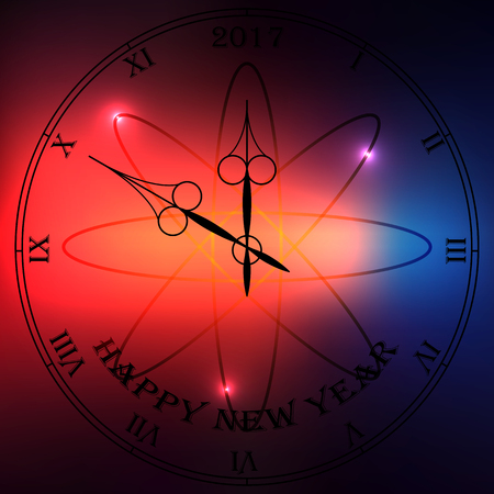 seconds: Very high quality original trendy vector antique clock face with roman numbers and vintage pointer isolated on blured boke background, happy new 2017 year
