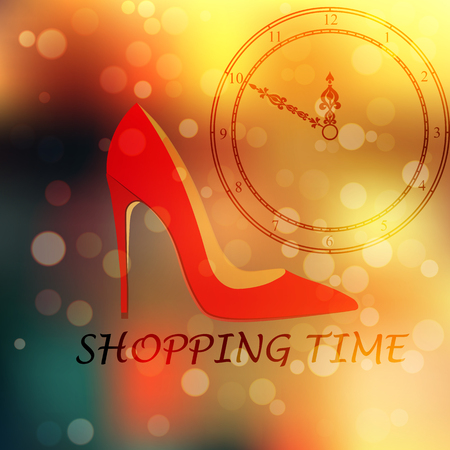 young girl feet: High quality original trendy vector illustration of realistic ladies shoe and clock face on blured boke background