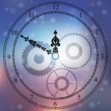 Very high quality original trendy vector antique clock face with numbers and vintage pointer isolated on blured boke background Illustration