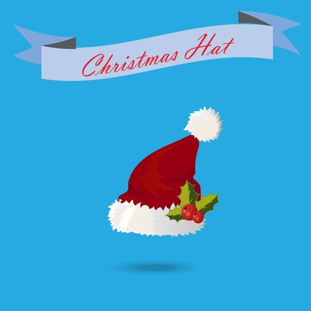 Very high quality original trendy vector santa claus hat with fur and holly Illustration