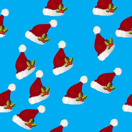 Very high quality original trendy vector seamless pattern with santa claus hat with fur and holly Illustration