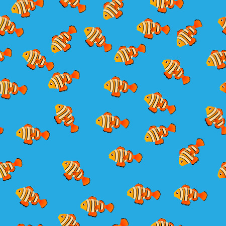 clownfish: Very high quality original trendy vector seamless pattern with Ocellaris clownfish