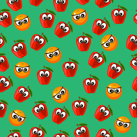 Very high quality original trendy vector seamless pattern with a apple and orange character, personage or face