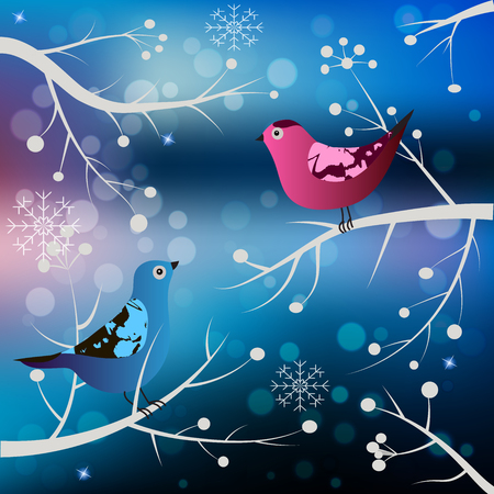 High quality original trendy vector winter card with birds on blured bokeh background Illustration