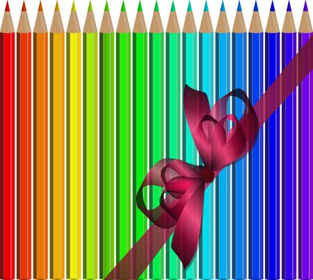 Very high quality original trendy realistic vector set of colored pencils in all rainbow colors with realistic ribbon can be used for design, banners, poster, flyer, cover, brochure. template, Illustration