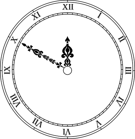 clockface: Very high quality original trendy vector antique clock face with roman numbers and vintage pointer