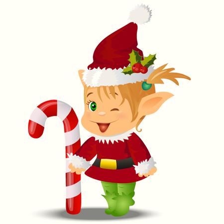 santa s elf: High quality original trendy vector illustration of happy smiling christmas santa s Elf with cane lollipop