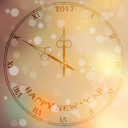 Very high quality original trendy vector antique clock face with roman numbers and vintage pointer isolated on blured boke background, happy new 2017 year
