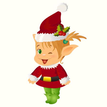 santa s elf: High quality original trendy vector illustration of happy smiling christmas santa s Elf