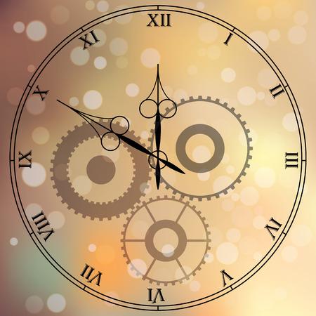 Muy alta calidad original con la cara de moda vector de reloj antiguo con números y puntero de la vendimia aislado en el fondo boke borroneada Ilustración de vector