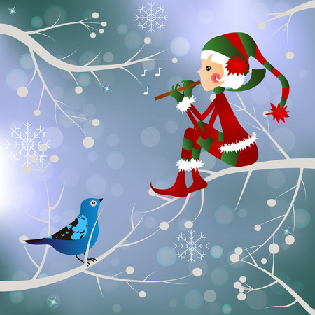 pointy hat: High quality original trendy vector illustration ofchristmas santa s Elf with a flute and bird Illustration