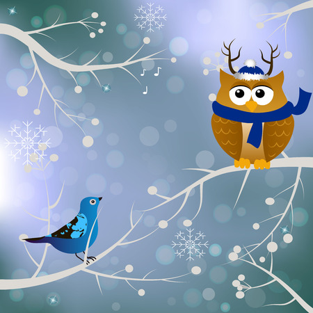 High quality original trendy vector winter card with birds and owl in santa hat and scarf on blured bokeh background Illustration