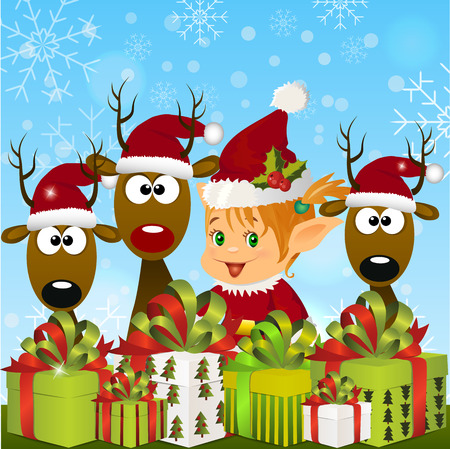 pointy ears: High quality original trendy vector illustration of happy smiling christmas santa s Elf with gift boxes and reindeers on winter blured background Illustration