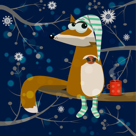 lies: Very high quality original trendy vector cute cartoon fox with coffee or tea. Fox in night cap and socks with birds and snowflakes forest on background.