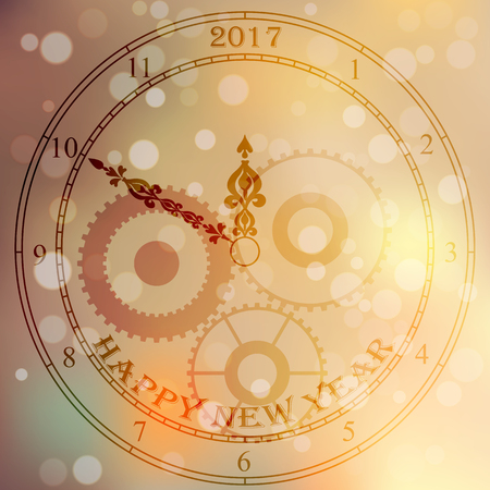 checking: Very high quality original trendy vector antique clock face with numbers and vintage pointer isolated on blured boke background, happy new 2017 year