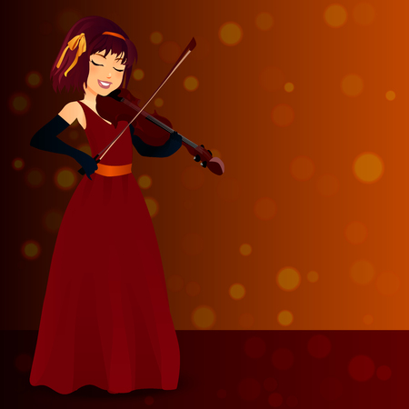 Very high quality original trendy vector glamorous female singer in dress with violin on blured bokeh background full height portrait in red evening dress playing on violin.